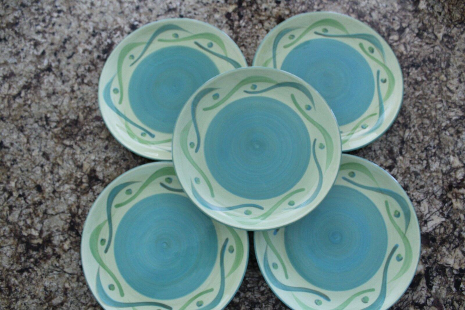 Southern Living at HOME 5 Provence Swirly Salad Plates Gail Pittman Aqua Green