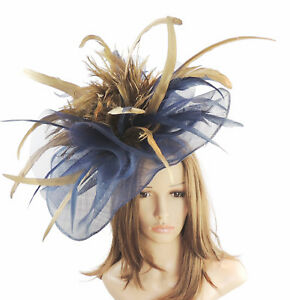 Image is loading Navy-amp-Gold-Fascinator-for-Ascot-Weddings-Proms- 213789afa0a