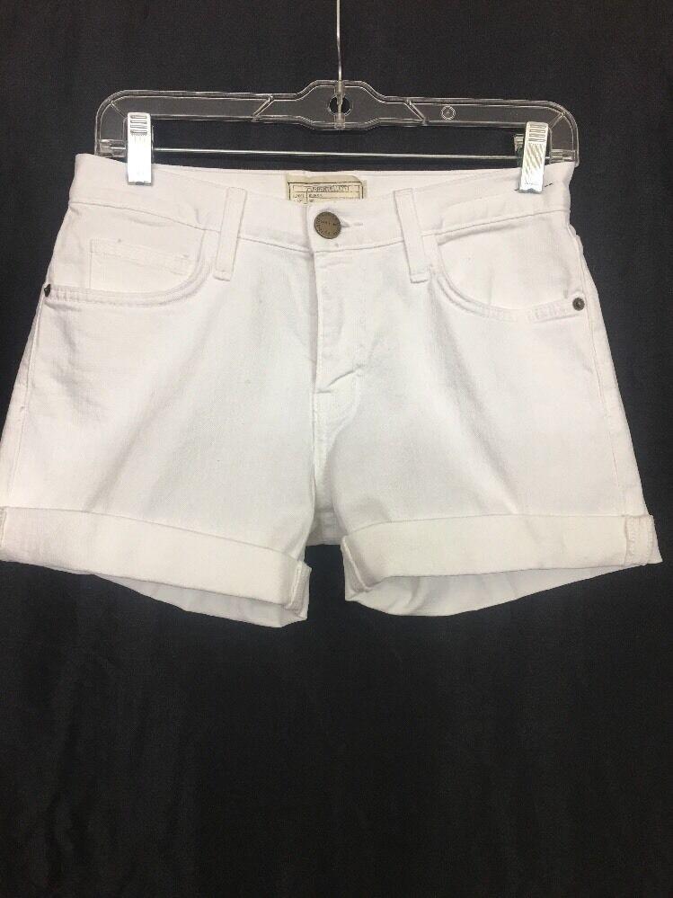 Current Elliott White Denim Shorts The Boyfriend Rolled Short  Size 23