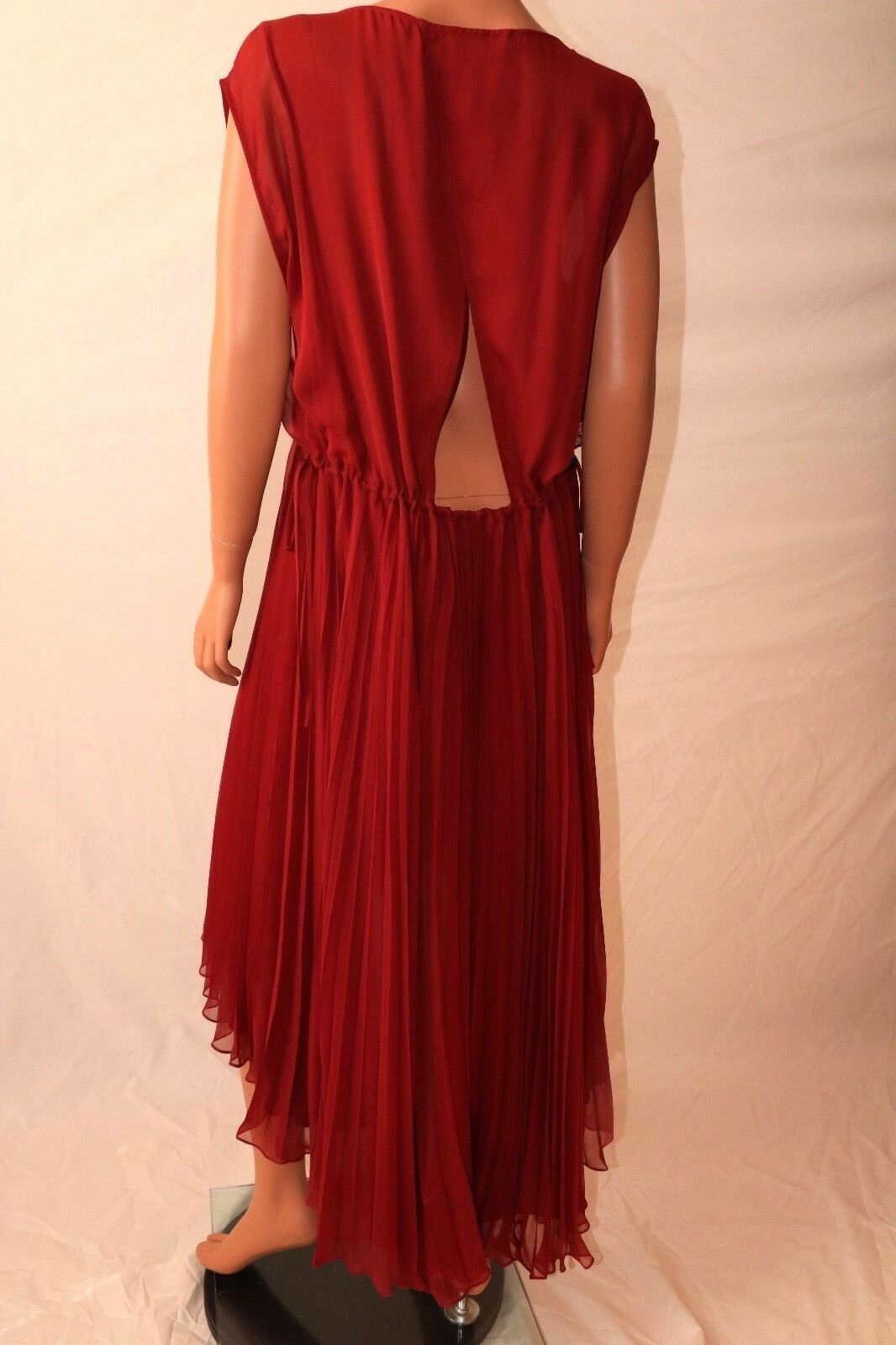 Haute Hippie Hippie Hippie Merlot Drawstring Asymmetrical Hem Pleated Dress e124df