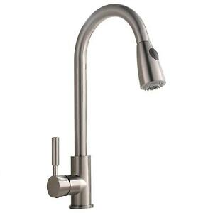 brushed nickel single handle kitchen faucet comllen commercial single handle brushed nickel pull out kitchen faucet mixer 630174336515 ebay 1527