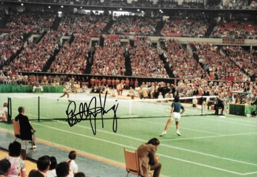 billie jean king BATTLE OF THE ES against bobby riggs 1973 signed 12x8 photo