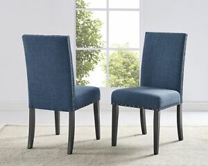 Prime Details About Biony Blue Fabric Dining Chairs With Nailhead Trim Set Of 2 Inzonedesignstudio Interior Chair Design Inzonedesignstudiocom