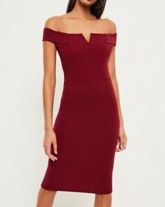 7a1312d15cb0 Missguided Burgundy V Front Bardot Midi Dress size Uk4 (M62/12) | eBay
