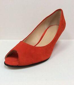 Detalles de K&S Coral Naranja Ante Peep Toe Cuña Tribunal Zapatos, UK 8EU 41, RRP £ 159, BNWB ver título original