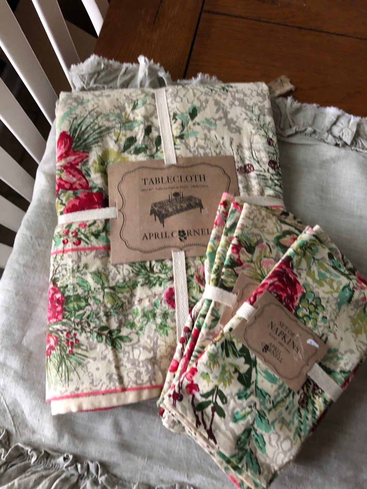 APRIL CORNELL NEUF 60  X 120  Nappe & 8 serviettes Roses Holly & Berri Crème