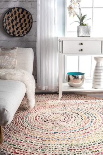 Rug Braided Round Floor Mat Handmade Reversible White Cotton Floor Rug 8x8 Feet