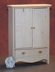 Image Is Loading Dollhouse Miniature Armoire Unfinished Wardrobe  Closet 1 12
