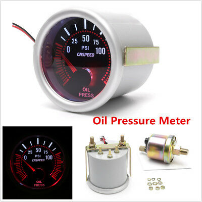 "2/"" 52mm Universal Car LED Smoke Lens Oil Press Gauge Meter with Pressure Sensor"