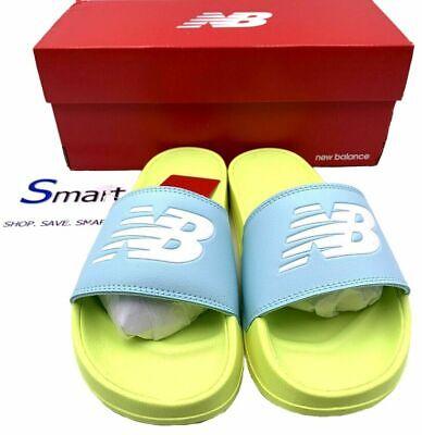 NIB SIZES 7-8 WOMEN New Balance 200 Logo Slides Sandals Neon ...