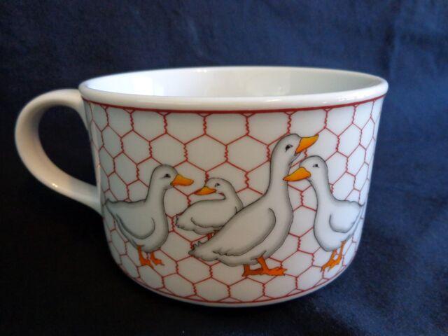 Soup Mug DUCK FAMILY Fence White Ceramic San Francisco