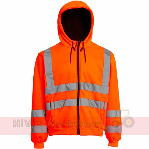 Hi Viz Hoody Mens Safety Hooded Sweatshirt Hoodie Site Uniform Work Fleece Top