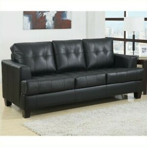 Fantastic Details About Coaster Samuel Faux Leather Tufted Queen Sleeper Sofa In Black Machost Co Dining Chair Design Ideas Machostcouk