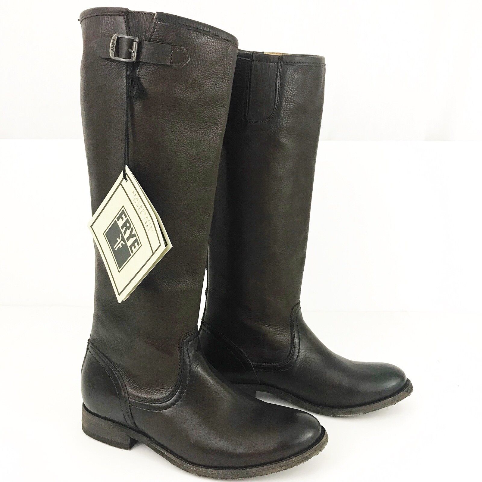 Frye Pippa Womens Leather Riding Dark Brown Tall Boots Size 6 New