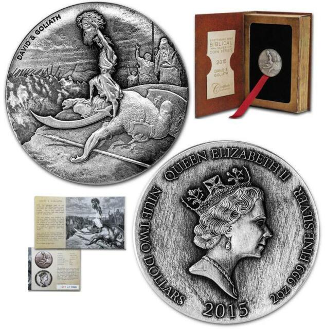 2015 Niue David & Goliath 2 oz Silver Coin w/ COA & packaging -- Biblical Series