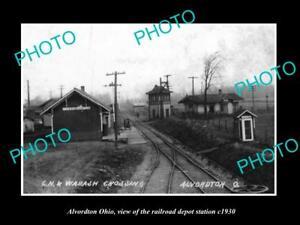 OLD-LARGE-HISTORIC-PHOTO-OF-ALVORDTON-OHIO-THE-RAILROAD-DEPOT-STATION-c1930
