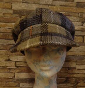 1cd5722ca52 Failsworth Ladies Blue and Green Check Harris Tweed Baker Boy Cap ...