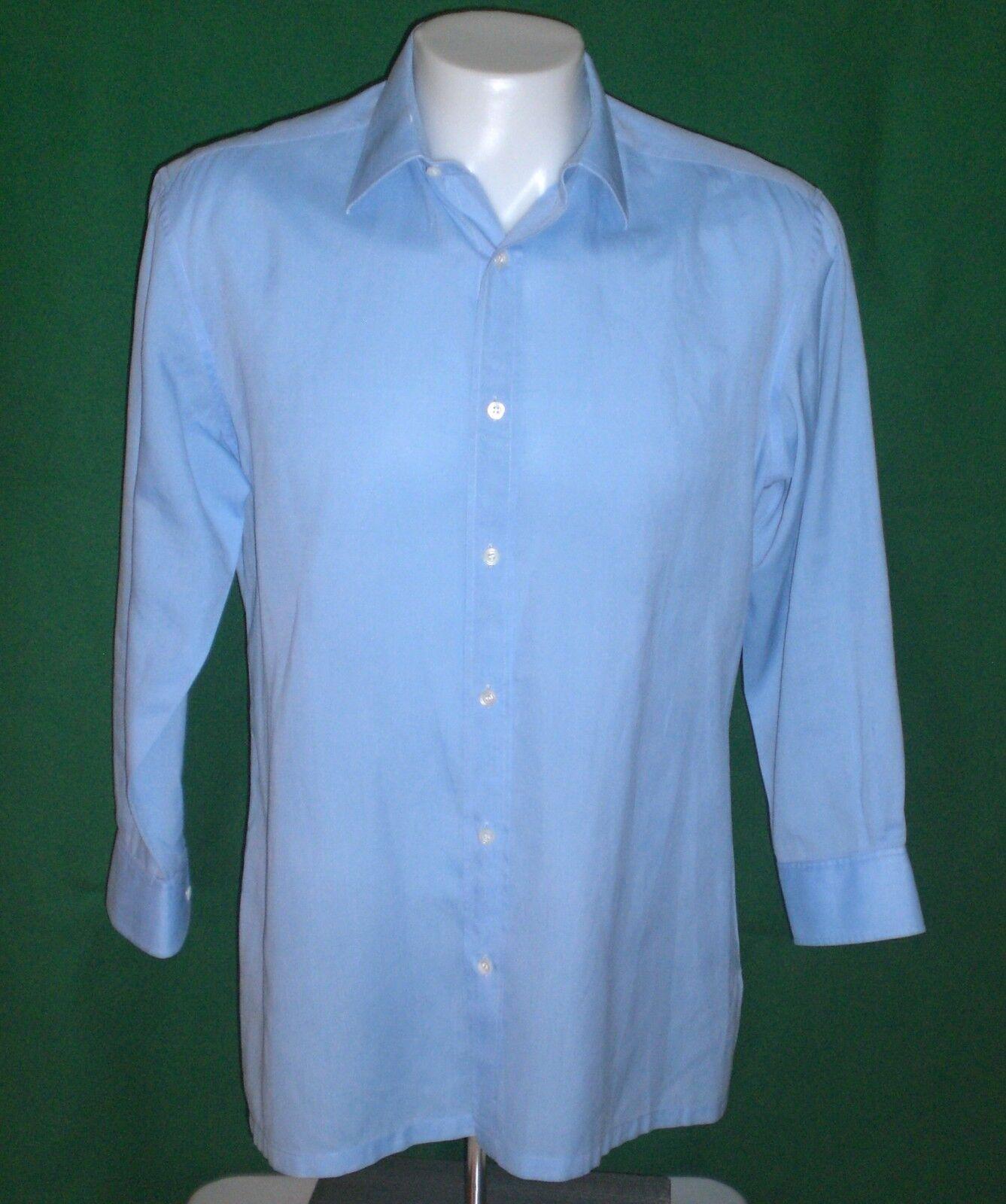 Charvet Place Vendome Paris Dress Shirt Solid bluee FRANCE Mens 16 31 32