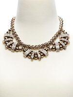 Banana Republic Regency Antique Brass Crystal Fan Statement Necklace $185