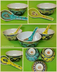 3x-Peanut-Bowl-Spoon-Fine-Porcelain-Made-in-China-1960-039-s-Asia-Asian-Antiques