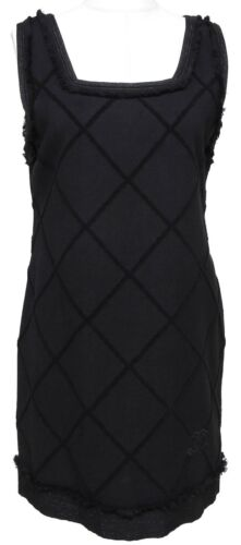 CHANEL Dress Tweed Black Sleeveless Quilted Mademo