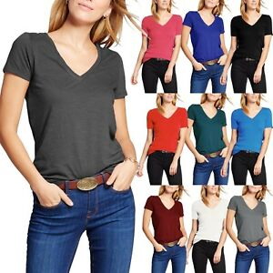 59846638a4c0 Womens Basic V Neck T Shirts Solid Color Plain Tee Top Stretch Layer ...