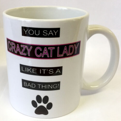 FUN NOVELTY MUG COASTER OR SET OF BOTH MADE IN UK CRAZY CAT LADY