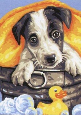 Stickpackung Stickbild Vordruck 20x15 cm Husky Hund Dog Chiot Winter sticken