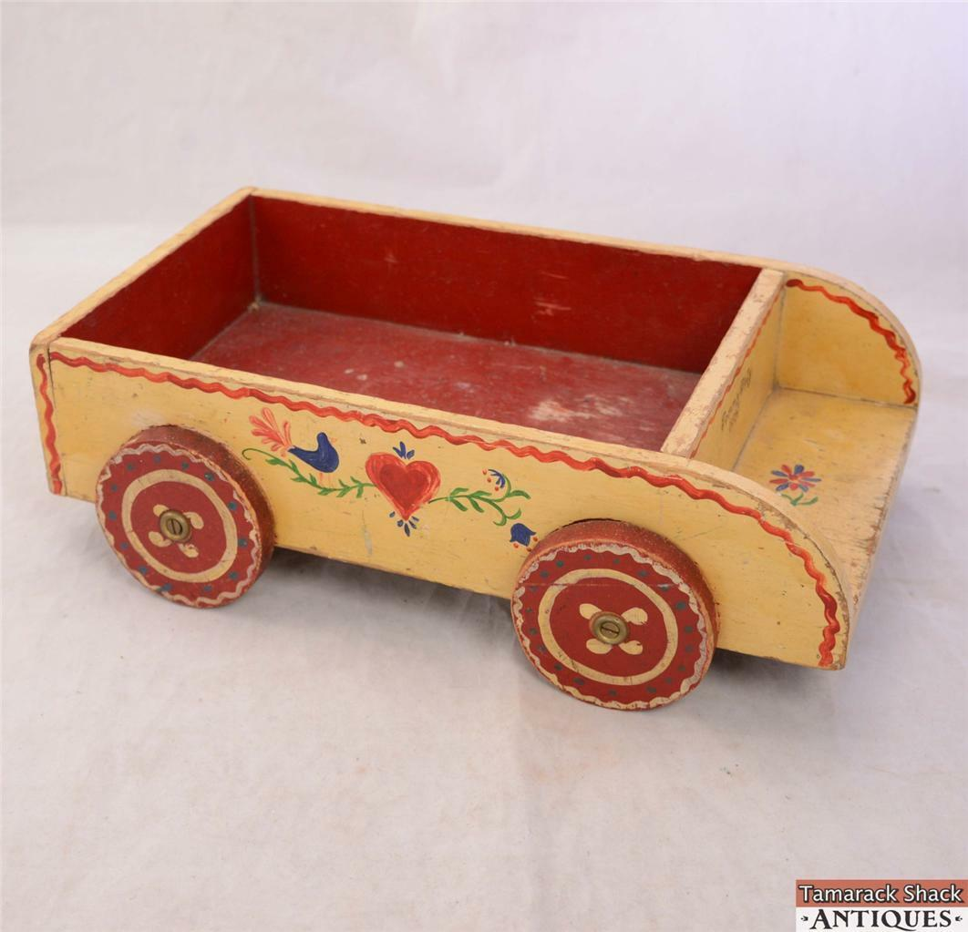 C1945 Peter & Karl Heirloom Toy Wooden Wagon pinkmaled Red Yellow Blocks Heart