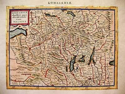 Cartina Lombardia Da Stampare.Lombardia Mappa Del 1500 Stampa Incisa E Dipinta A Mano Ebay