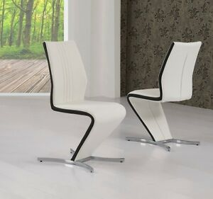 4x White Z Dining Chairs With Black Stripe White Faux Leather