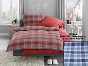Feinflanell-Winter-Bettwaesche-Garnitur-100-Baumwolle-blau-grau-o-rot-grau-Karo