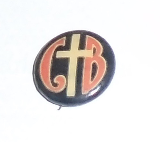 Early 1900s pin CHRISTIAN pinback CROSS button C B Letters initials