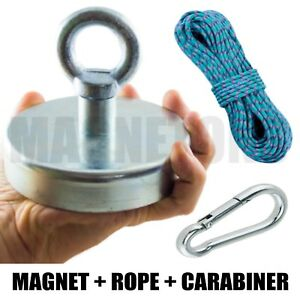 Magnet-METAL-DETECTOR-Recovery-TREASURE-FINDER-FERRITE-Fishing-MAX-130kg-ROPE