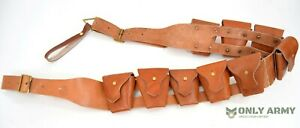 British-Pattern-1903-Cavalry-Bandolier-Tan-Leather-9-Pocket-Belt-Army-Military