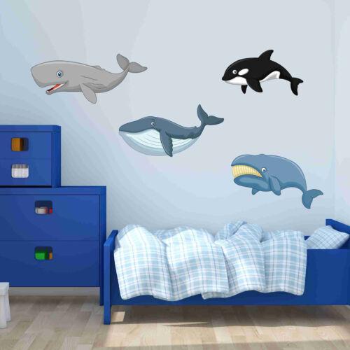 Wall Mural Cute Whale Set Wall Decal Wall Sticker Home Decor