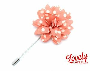 Men-039-s-Flower-Lapel-Pin-CORAL-WHITE-POLKA-DOTS-Handmade-Floral-Silk-Boutonniere