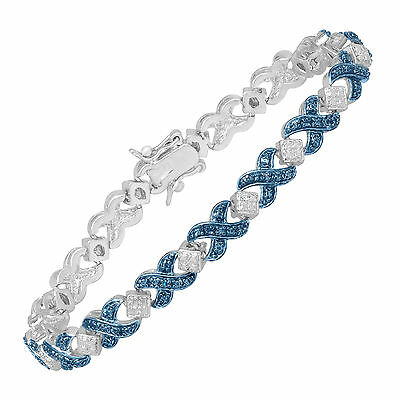 """XOXO Tennis Bracelet with Blue Diamond in Sterling Silver-Plated Brass, 7 1/4"""""""