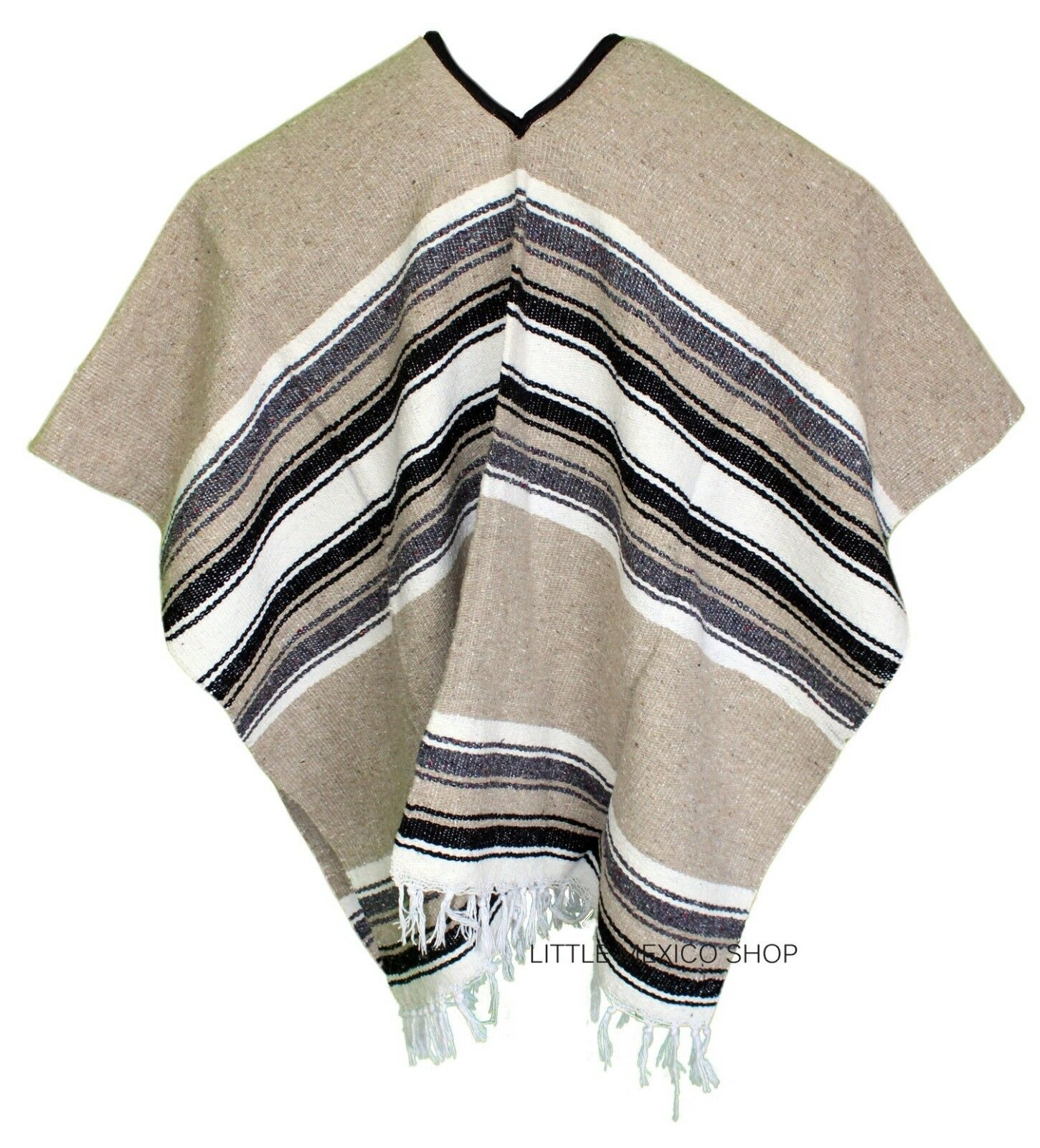 EXTRA WIDE Mexican PONCHO - LIGHT BROWN - ONE SIZE FITS ALL Gaban BIG AND TALL