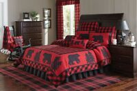 10pc Buffalo Check Red & Black Queen Bed Quilt By Park Designs/country Bedding