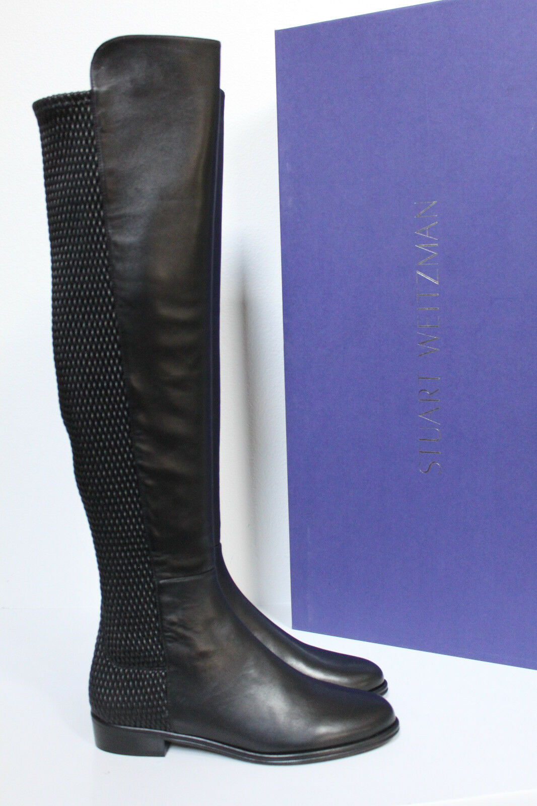 New sz 7 M Stuart Weitzman Black Leather Alljenn Over the Knee Tall Boot Shoes