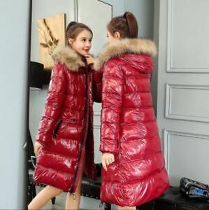 polstret jakker Parka Kvinders Lang Hooded vinterjakke skinnende bomuld ned qxnZXpaw