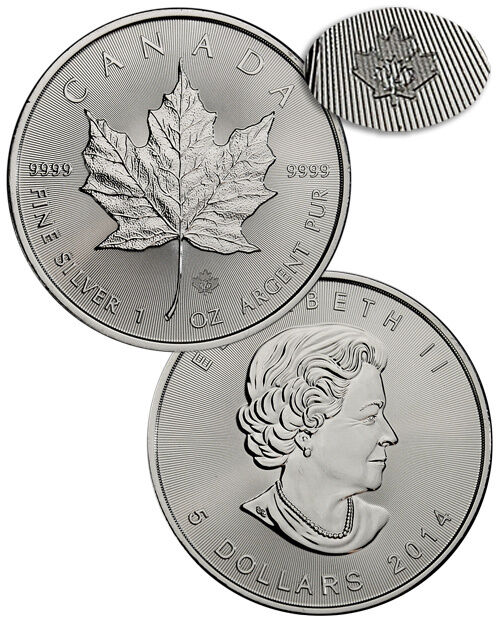 2014 Canada 1 Troy Oz .9999 Silver Maple Leaf $5 Coin SKU30322