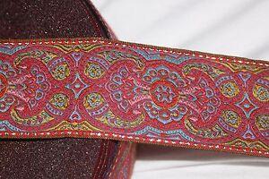 1-yard-Rust-Rose-Baby-Blue-Pink-Sage-Metallic-Gold-JACQUARD-Brocade-woven-ribbon