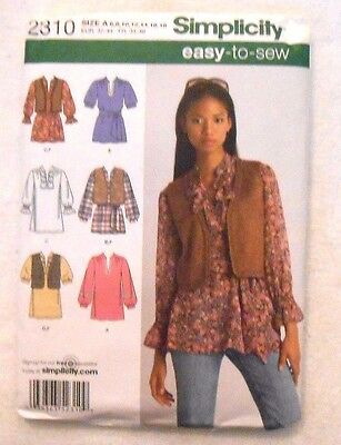 Simplicity Pattern 2310 Misses/Miss Petite Tunic Vest Tie Belt - Size 6-18 - New