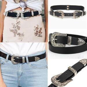 Women Waist Belt Black Leather Western Cowgirl Waistband Double Metal Buckle