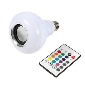 12W E27LED RGB Wireless Bluetooth Speaker Bulb Light Music Playing Lamp /& Remote
