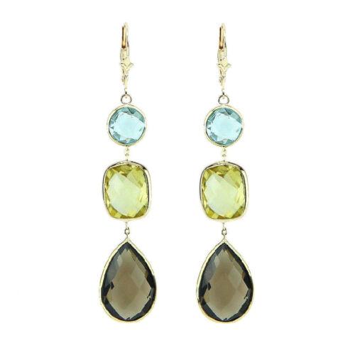 14K Or Jaune Leverback Boucles D/'Oreilles Avec Citron bleu et Smoky Topaz Gemstones