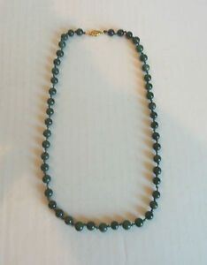 Green Jade Ball Beaded Necklace 22 with 14k Clasp