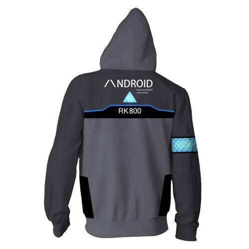 Detroit Become Human Connor RK800 Hoodie Sweatshirt Zipper Jacket Cosplay Coat